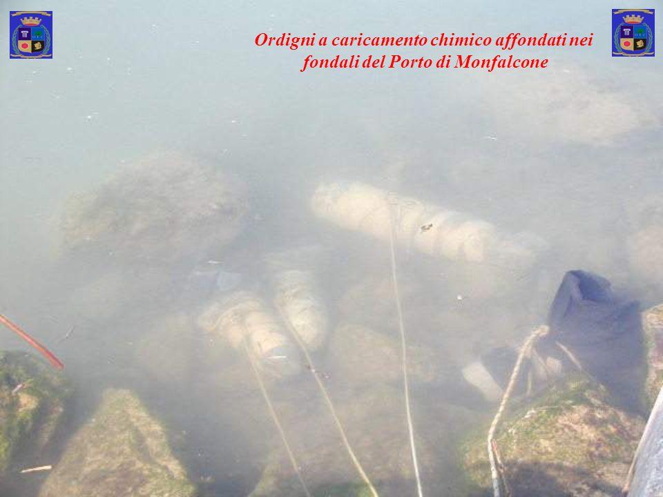 Ordigni a caricamento chimico affondati nei fondali del Porto di Monfalcone