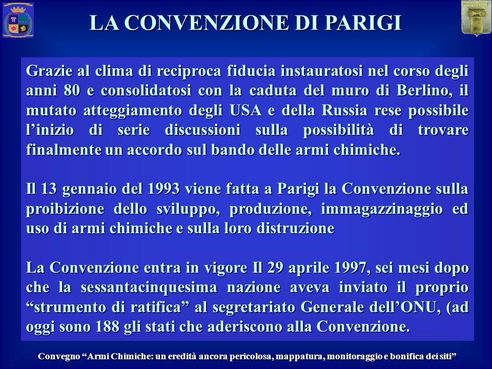 MASTER Protezione da eventi CBRN LA CONVENZIONE DI PARIGI Convenzione sulla proibizione dello sviluppo, produzione, immagazzinaggio ed uso di armi chimiche e sulla loro distruzione.