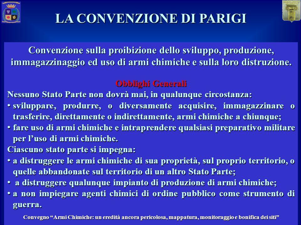 Convenzione sulla proibizione dello sviluppo, produzione, immagazzinaggio ed uso di armi chimiche e sulla loro distruzione.