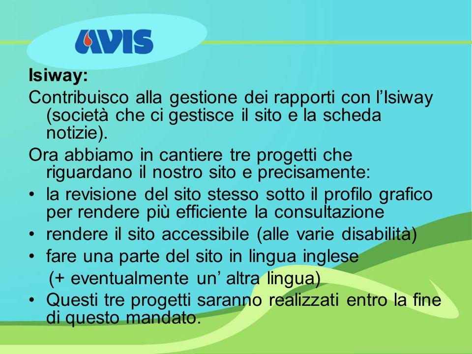 Isiway: Contribuisco alla gestione dei rapporti con lIsiway (società che ci gestisce il sito e la scheda notizie).