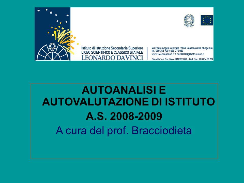 AUTOANALISI E AUTOVALUTAZIONE DI ISTITUTO A.S. 2008-2009 A cura del prof. Bracciodieta