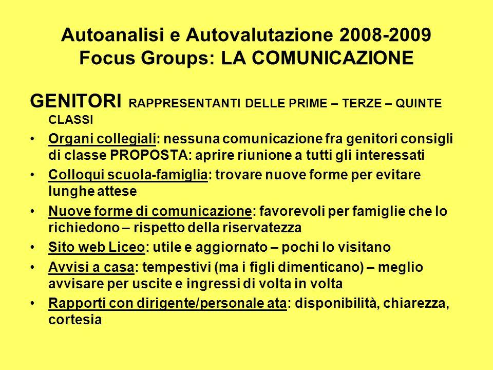 Autoanalisi e Autovalutazione 2008-2009 Focus Groups: LA COMUNICAZIONE GENITORI RAPPRESENTANTI DELLE PRIME – TERZE – QUINTE CLASSI Organi collegiali: