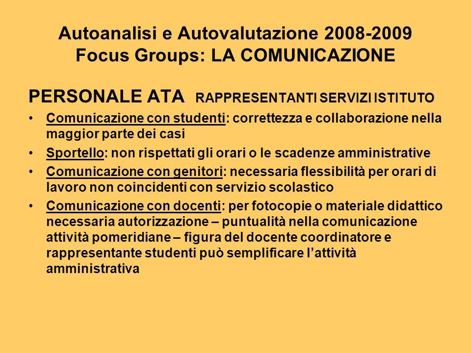 Autoanalisi e Autovalutazione 2008-2009 Focus Groups: LA COMUNICAZIONE PERSONALE ATA RAPPRESENTANTI SERVIZI ISTITUTO Comunicazione con studenti: corre