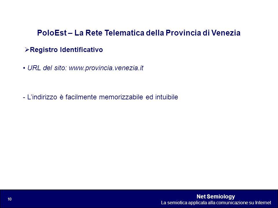 Net Semiology La semiotica applicata alla comunicazione su Internet 10 Registro Identificativo PoloEst – La Rete Telematica della Provincia di Venezia
