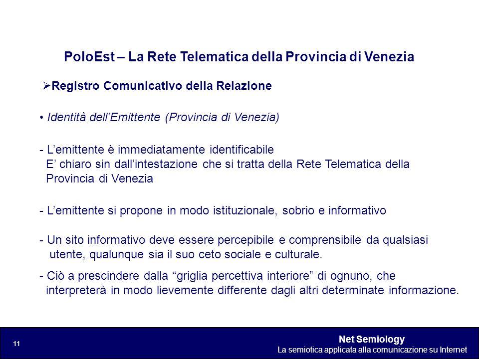 Net Semiology La semiotica applicata alla comunicazione su Internet 11 Registro Comunicativo della Relazione PoloEst – La Rete Telematica della Provin