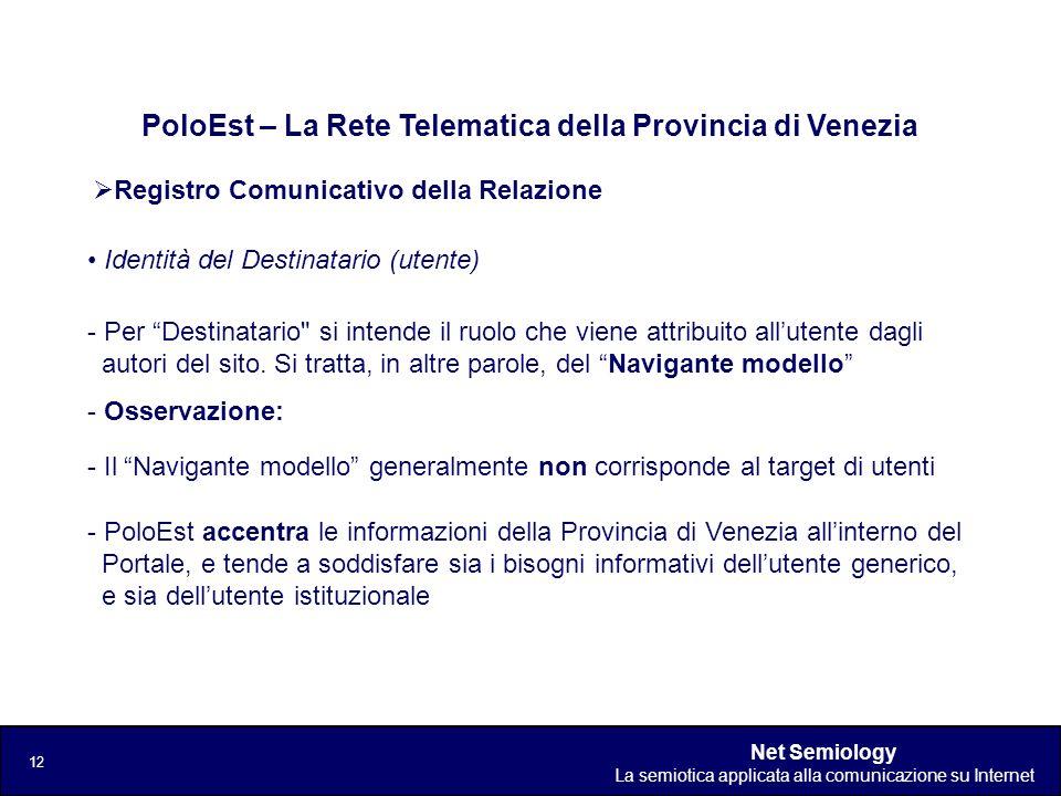 Net Semiology La semiotica applicata alla comunicazione su Internet 12 Registro Comunicativo della Relazione PoloEst – La Rete Telematica della Provin