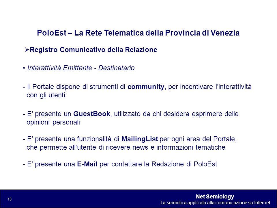 Net Semiology La semiotica applicata alla comunicazione su Internet 13 Registro Comunicativo della Relazione PoloEst – La Rete Telematica della Provin
