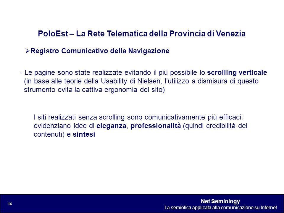 Net Semiology La semiotica applicata alla comunicazione su Internet 14 Registro Comunicativo della Navigazione PoloEst – La Rete Telematica della Prov