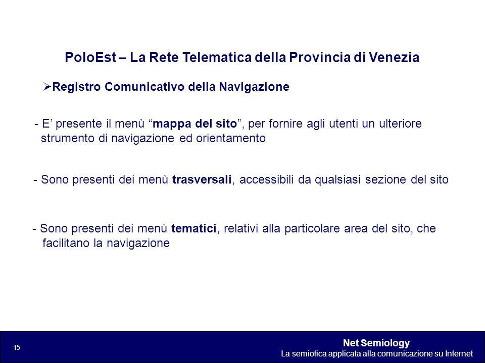 Net Semiology La semiotica applicata alla comunicazione su Internet 15 Registro Comunicativo della Navigazione PoloEst – La Rete Telematica della Prov