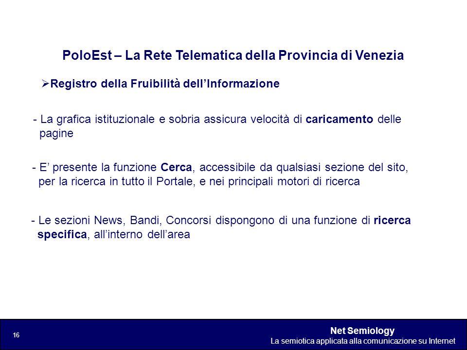 Net Semiology La semiotica applicata alla comunicazione su Internet 16 Registro della Fruibilità dellInformazione PoloEst – La Rete Telematica della P