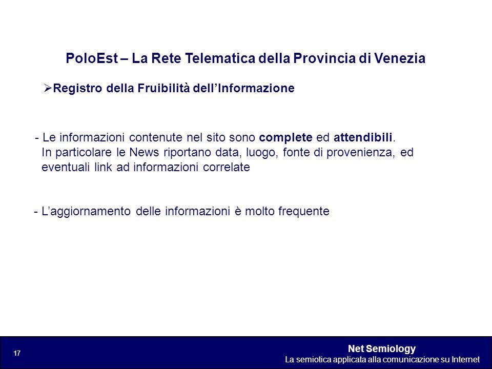 Net Semiology La semiotica applicata alla comunicazione su Internet 17 Registro della Fruibilità dellInformazione PoloEst – La Rete Telematica della P