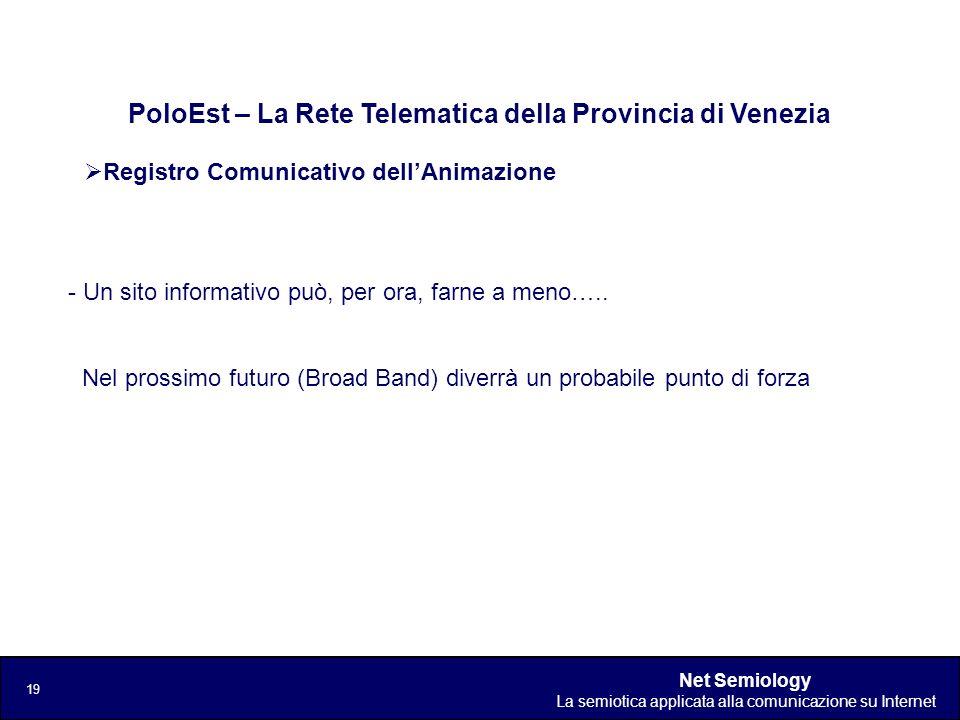 Net Semiology La semiotica applicata alla comunicazione su Internet 19 Registro Comunicativo dellAnimazione PoloEst – La Rete Telematica della Provinc