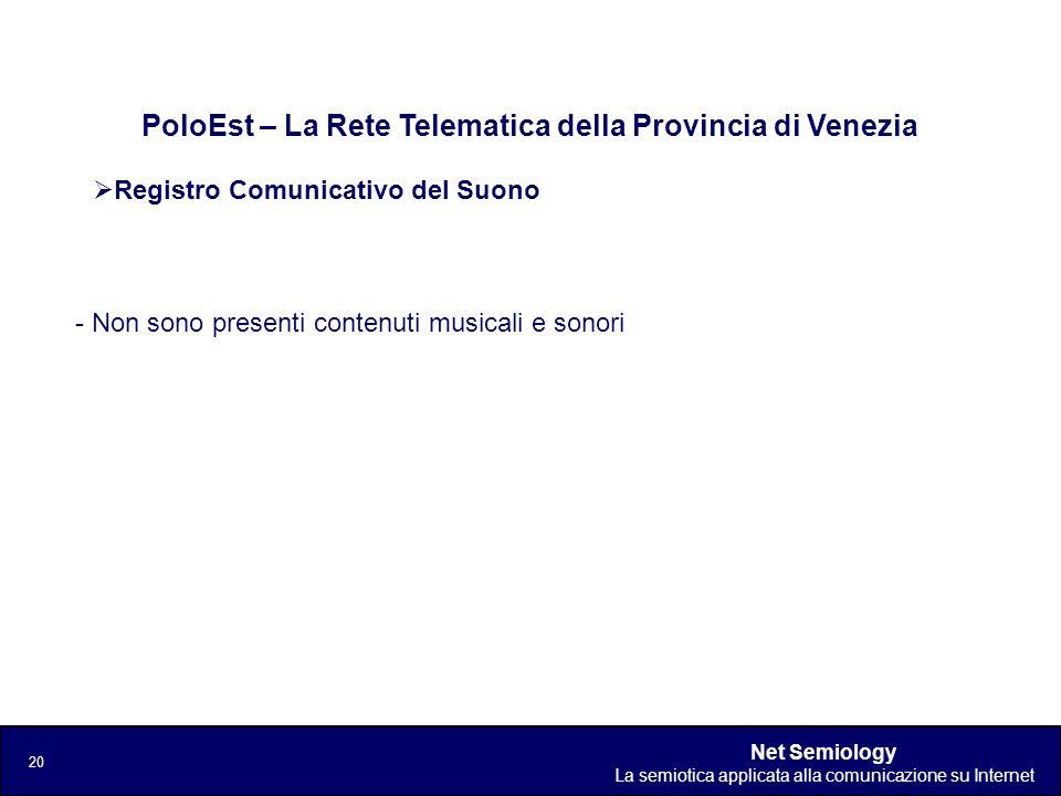 Net Semiology La semiotica applicata alla comunicazione su Internet 20 Registro Comunicativo del Suono PoloEst – La Rete Telematica della Provincia di