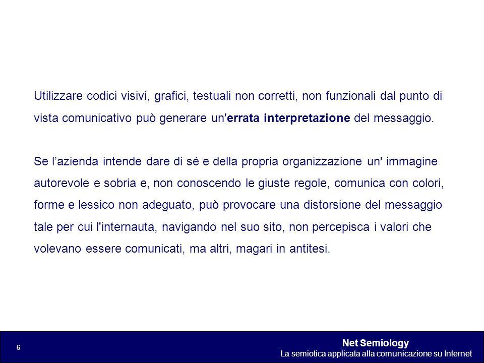 Net Semiology La semiotica applicata alla comunicazione su Internet 6 Utilizzare codici visivi, grafici, testuali non corretti, non funzionali dal pun
