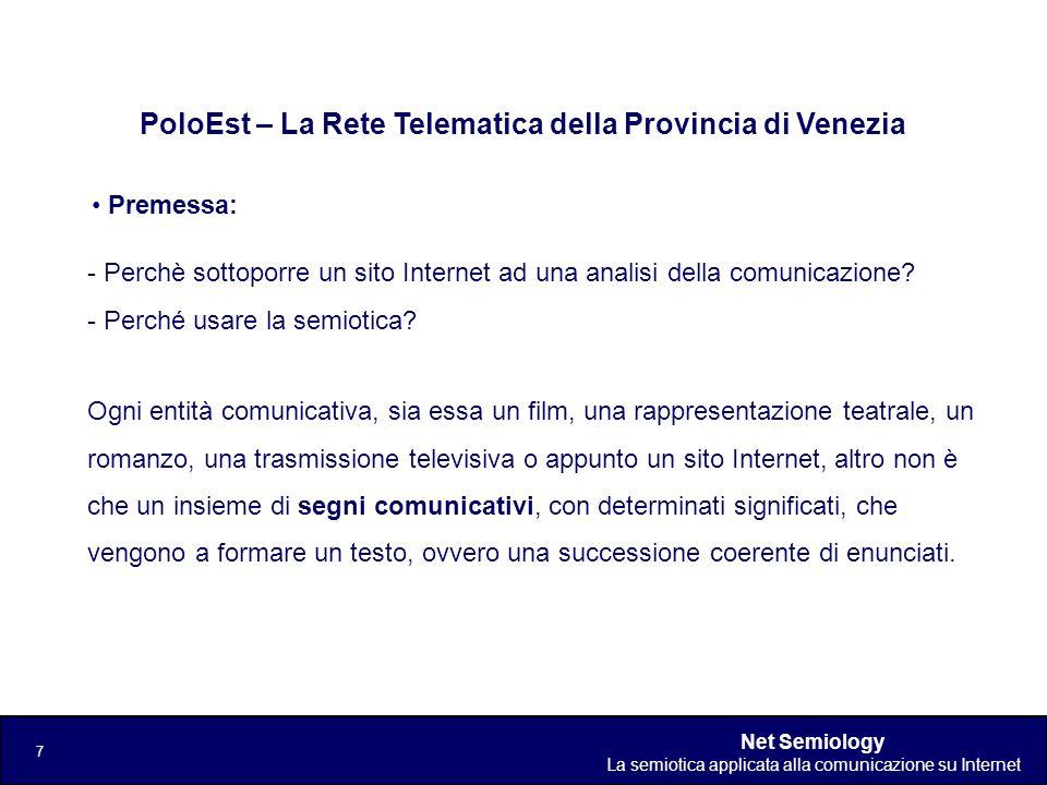Net Semiology La semiotica applicata alla comunicazione su Internet 7 Premessa: PoloEst – La Rete Telematica della Provincia di Venezia - Perchè sotto