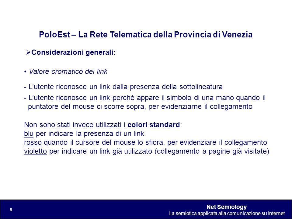 Net Semiology La semiotica applicata alla comunicazione su Internet 9 Considerazioni generali: PoloEst – La Rete Telematica della Provincia di Venezia