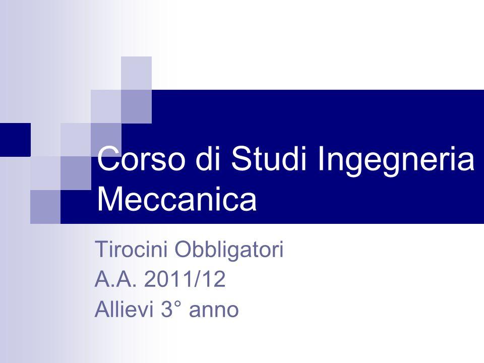 Corso di Studi Ingegneria Meccanica Tirocini Obbligatori A.A. 2011/12 Allievi 3° anno