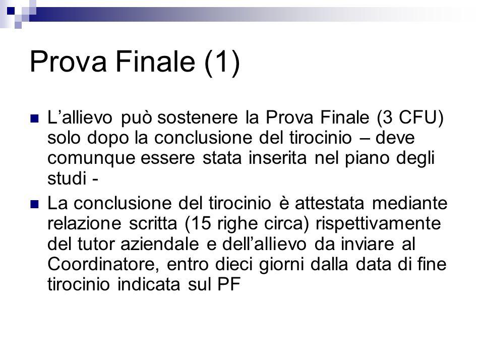 Prova Finale (1) Lallievo può sostenere la Prova Finale (3 CFU) solo dopo la conclusione del tirocinio – deve comunque essere stata inserita nel piano
