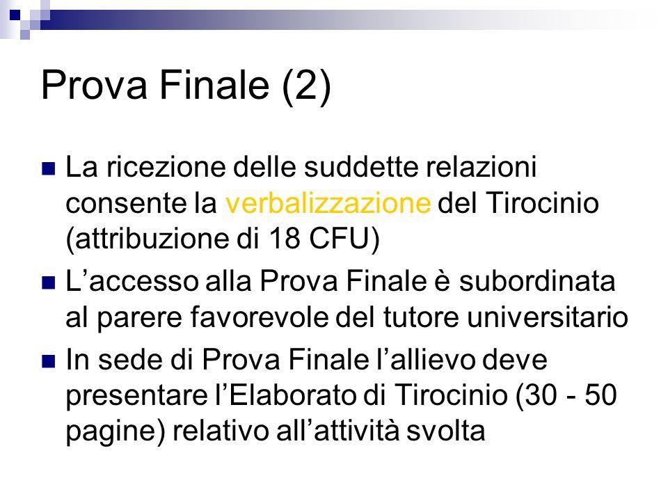Prova Finale (2) La ricezione delle suddette relazioni consente la verbalizzazione del Tirocinio (attribuzione di 18 CFU) Laccesso alla Prova Finale è