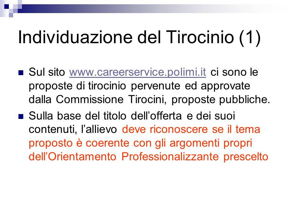 Individuazione del Tirocinio (1) Sul sito www.careerservice.polimi.it ci sono le proposte di tirocinio pervenute ed approvate dalla Commissione Tiroci