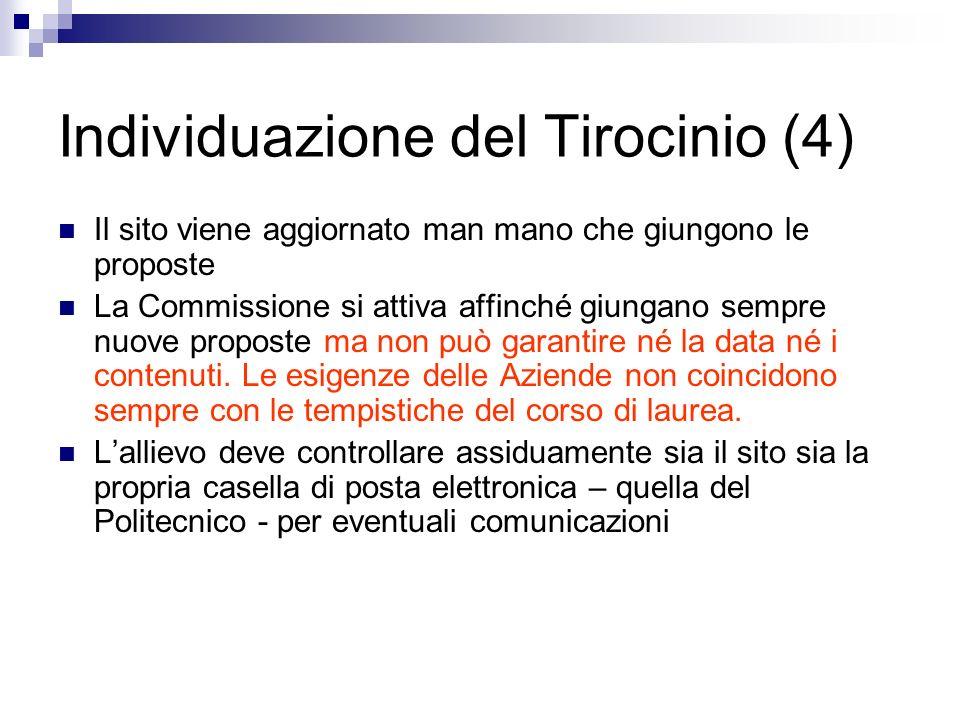Individuazione del Tirocinio (4) Il sito viene aggiornato man mano che giungono le proposte La Commissione si attiva affinché giungano sempre nuove pr