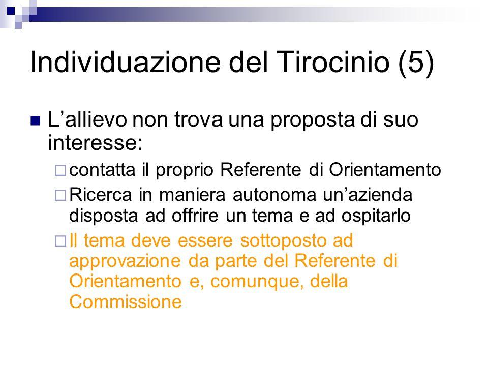 Individuazione del Tirocinio (5) Lallievo non trova una proposta di suo interesse: contatta il proprio Referente di Orientamento Ricerca in maniera au