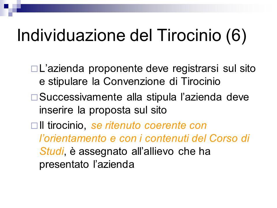 Individuazione del Tirocinio (6) Lazienda proponente deve registrarsi sul sito e stipulare la Convenzione di Tirocinio Successivamente alla stipula la
