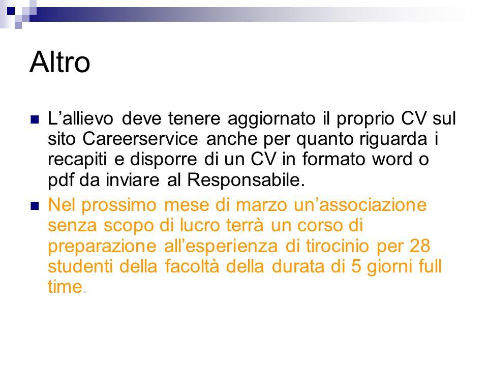 Altro Lallievo deve tenere aggiornato il proprio CV sul sito Careerservice anche per quanto riguarda i recapiti e disporre di un CV in formato word o