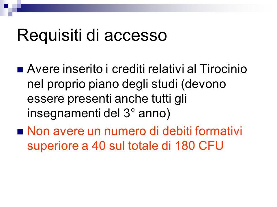 Requisiti di accesso Avere inserito i crediti relativi al Tirocinio nel proprio piano degli studi (devono essere presenti anche tutti gli insegnamenti