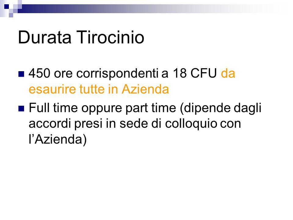 Durata Tirocinio 450 ore corrispondenti a 18 CFU da esaurire tutte in Azienda Full time oppure part time (dipende dagli accordi presi in sede di collo