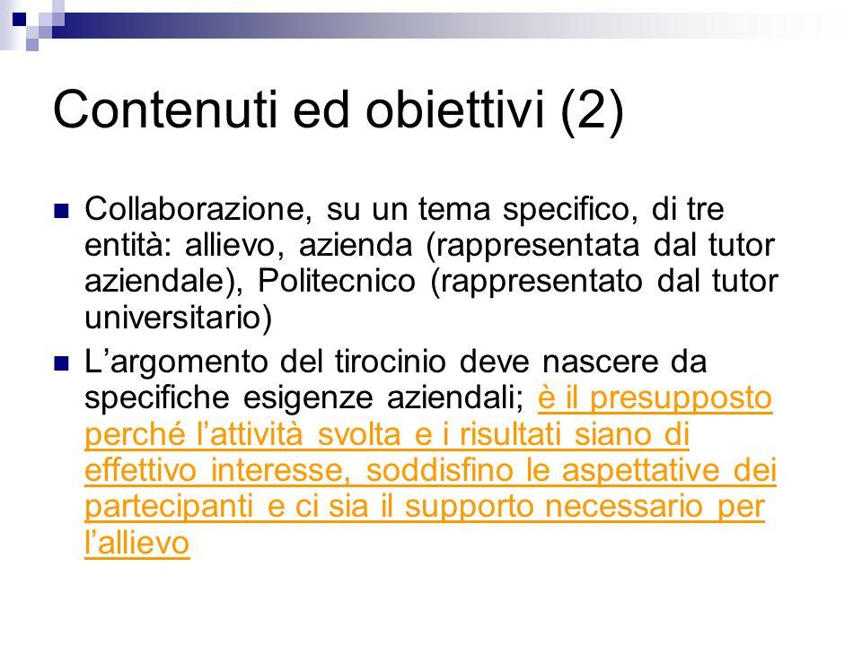 Contenuti ed obiettivi (2) Collaborazione, su un tema specifico, di tre entità: allievo, azienda (rappresentata dal tutor aziendale), Politecnico (rap