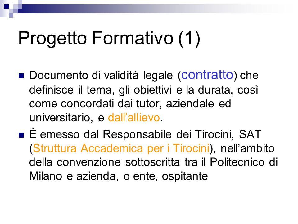 Progetto Formativo (1) Documento di validità legale ( contratto ) che definisce il tema, gli obiettivi e la durata, così come concordati dai tutor, az