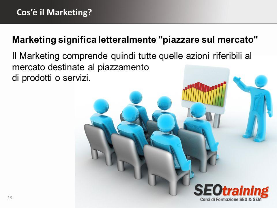 Cosè il Marketing? 13 Marketing significa letteralmente