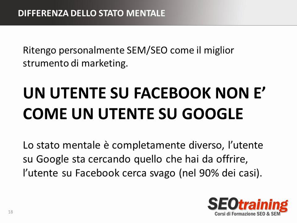 DIFFERENZA DELLO STATO MENTALE 18 Ritengo personalmente SEM/SEO come il miglior strumento di marketing.