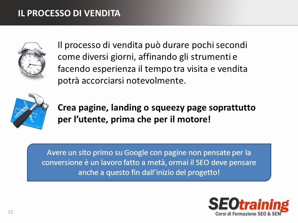 IL PROCESSO DI VENDITA 23 Avere un sito primo su Google con pagine non pensate per la conversione è un lavoro fatto a metà, ormai il SEO deve pensare anche a questo fin dallinizio del progetto.