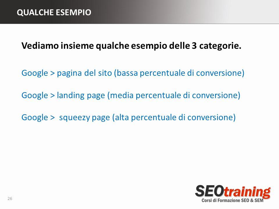 QUALCHE ESEMPIO 26 Vediamo insieme qualche esempio delle 3 categorie. Google > pagina del sito (bassa percentuale di conversione) Google > landing pag