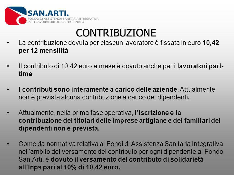 CONTRIBUZIONE La contribuzione dovuta per ciascun lavoratore è fissata in euro 10,42 per 12 mensilità Il contributo di 10,42 euro a mese è dovuto anch