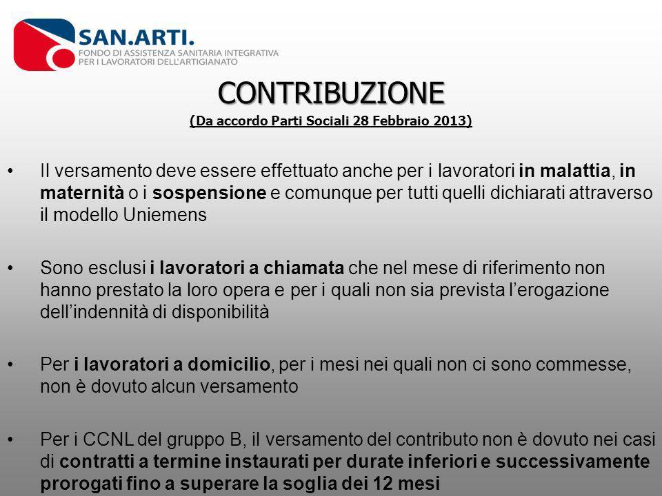 CONTRIBUZIONE (Da accordo Parti Sociali 28 Febbraio 2013) Il versamento deve essere effettuato anche per i lavoratori in malattia, in maternità o i so