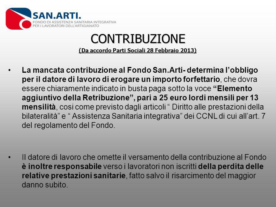 CONTRIBUZIONE (Da accordo Parti Sociali 28 Febbraio 2013) La mancata contribuzione al Fondo San.Arti- determina lobbligo per il datore di lavoro di er
