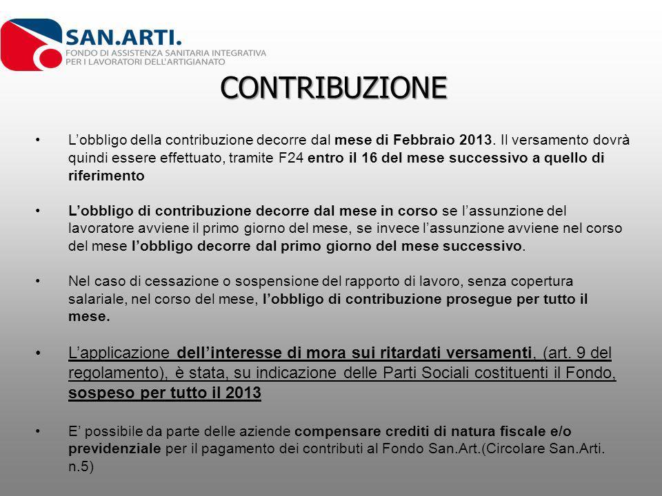 CONTRIBUZIONE Lobbligo della contribuzione decorre dal mese di Febbraio 2013. Il versamento dovrà quindi essere effettuato, tramite F24 entro il 16 de