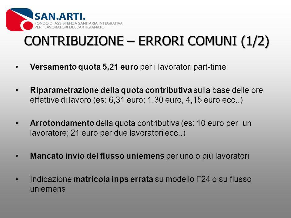 CONTRIBUZIONE – ERRORI COMUNI (1/2) Versamento quota 5,21 euro per i lavoratori part-time Riparametrazione della quota contributiva sulla base delle o