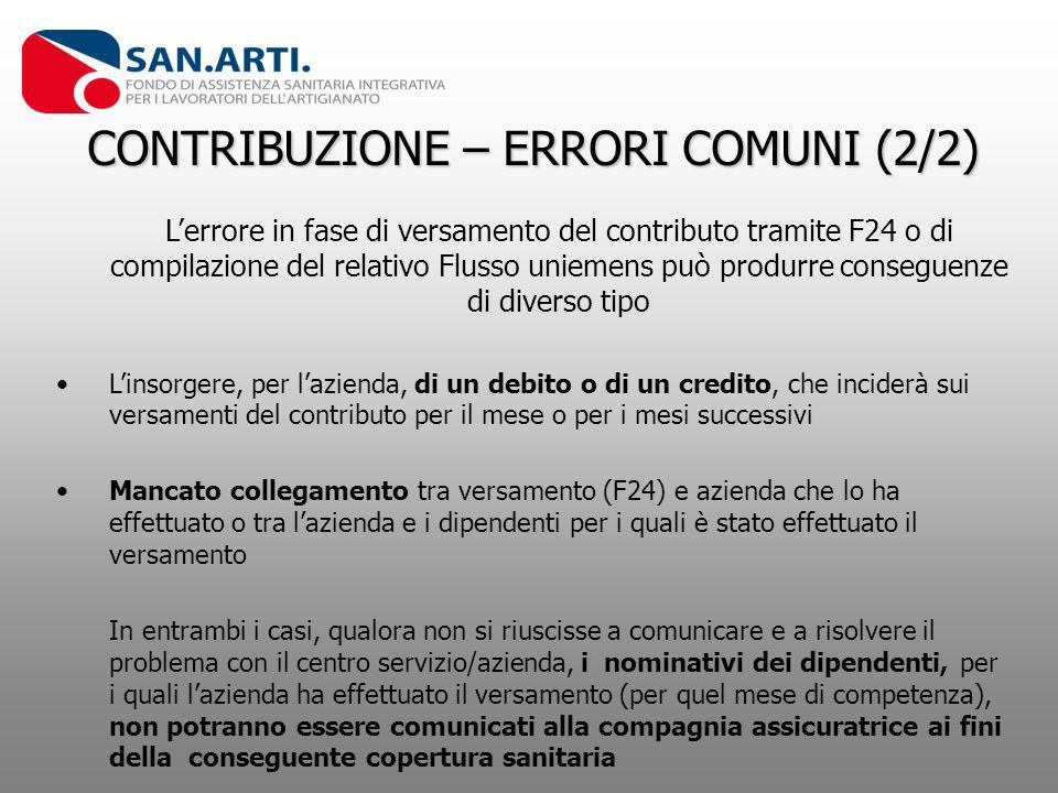 CONTRIBUZIONE – ERRORI COMUNI (2/2) Lerrore in fase di versamento del contributo tramite F24 o di compilazione del relativo Flusso uniemens può produr