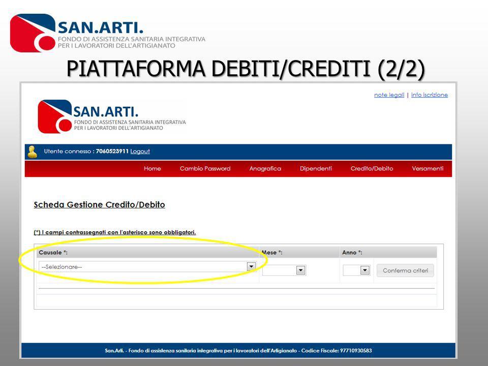 PIATTAFORMA DEBITI/CREDITI (2/2)