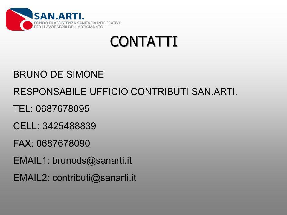 CONTATTI BRUNO DE SIMONE RESPONSABILE UFFICIO CONTRIBUTI SAN.ARTI. TEL: 0687678095 CELL: 3425488839 FAX: 0687678090 EMAIL1: brunods@sanarti.it EMAIL2: