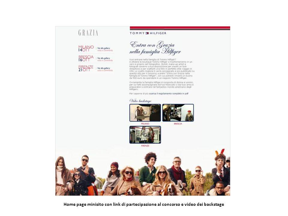 Home page minisito con link di partecipazione al concorso e video dei backstage