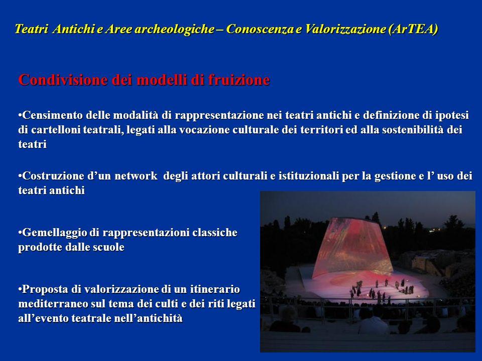 Censimento delle modalità di rappresentazione nei teatri antichi e definizione di ipotesi di cartelloni teatrali, legati alla vocazione culturale dei
