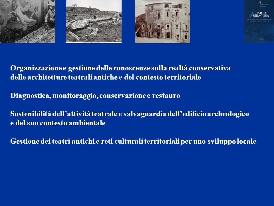 Organizzazione e gestione delle conoscenze sulla realtà conservativa delle architetture teatrali antiche e del contesto territoriale Diagnostica, moni