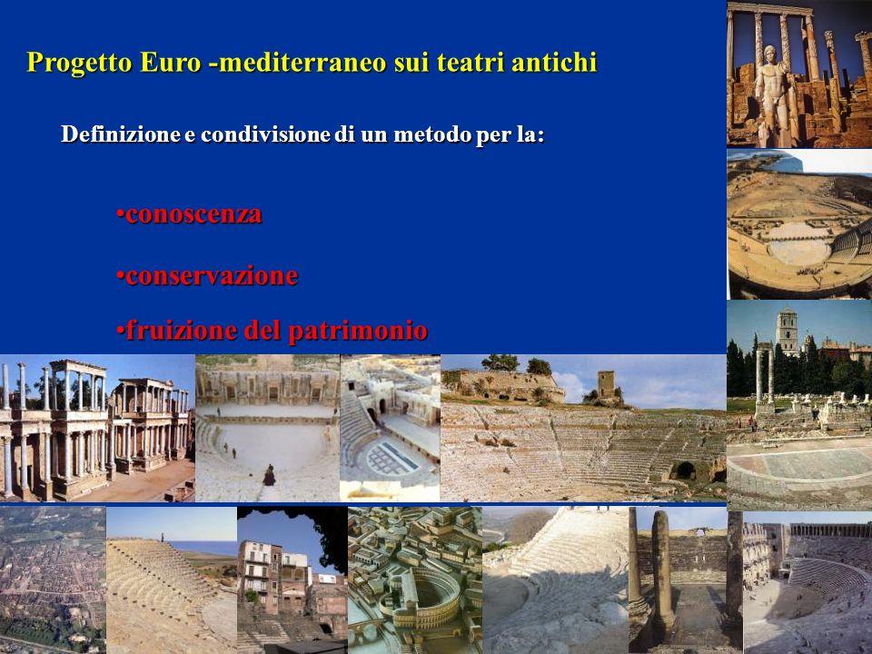ProgettoEuro -mediterraneo sui teatriantichi Progetto Euro -mediterraneo sui teatri antichi Definizione e condivisione di un metodo per la: fruizione del patrimoniofruizione del patrimonio conoscenzaconoscenza conservazioneconservazione