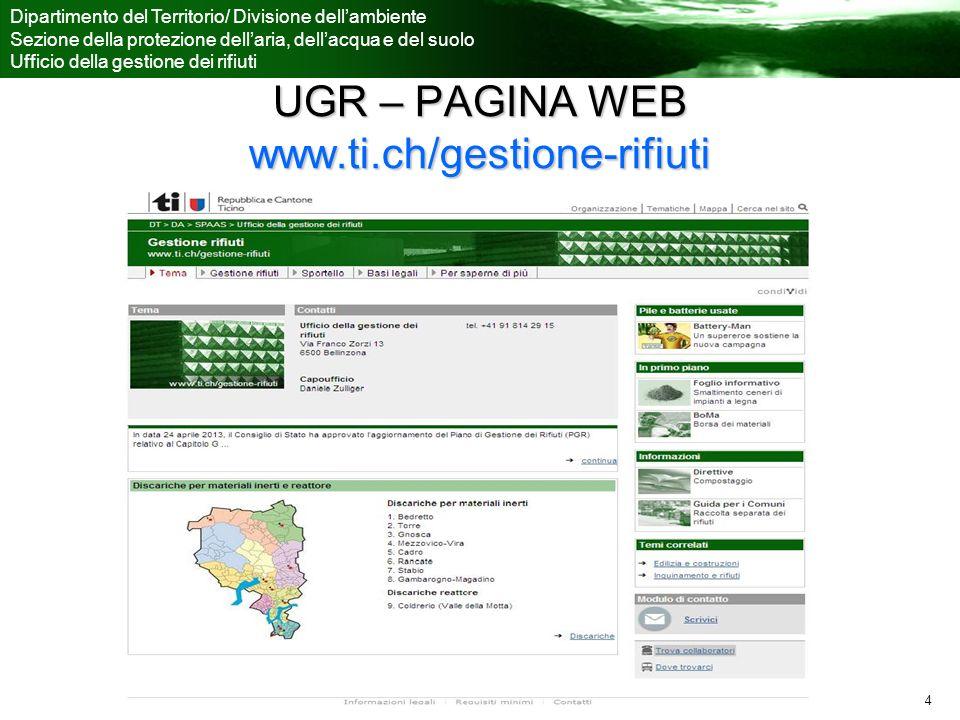 Ufficio della gestione dei rifiuti Dipartimento del Territorio/ Divisione dellambiente Sezione della protezione dellaria, dellacqua e del suolo Ufficio della gestione dei rifiuti 4 UGR – PAGINA WEB www.ti.ch/gestione-rifiuti
