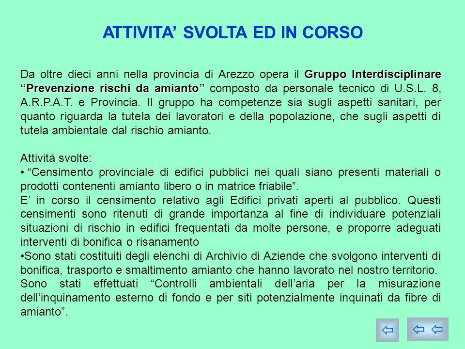 ATTIVITA SVOLTA ED IN CORSO Gruppo Interdisciplinare Prevenzione rischi da amianto Da oltre dieci anni nella provincia di Arezzo opera il Gruppo Interdisciplinare Prevenzione rischi da amianto composto da personale tecnico di U.S.L.